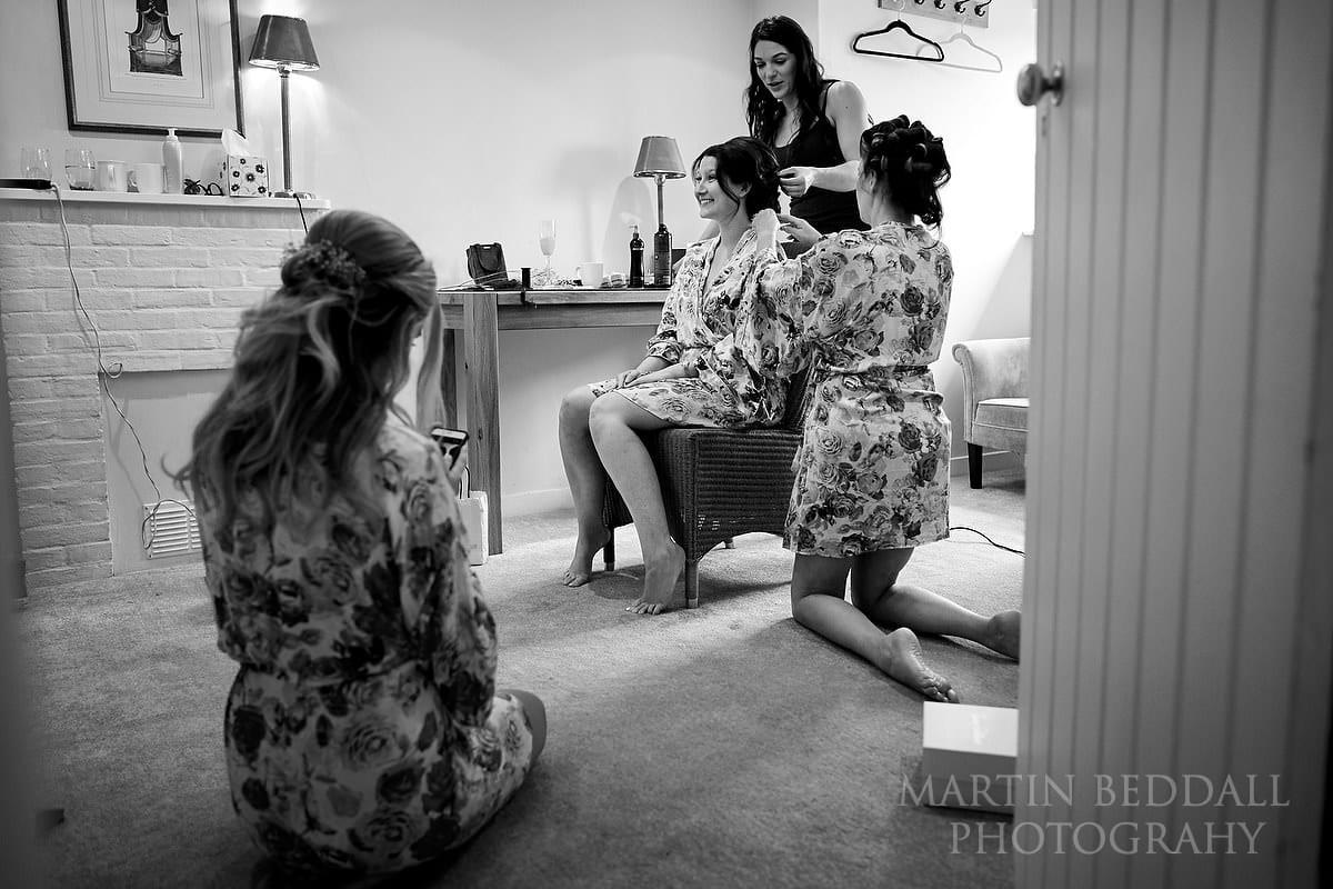 Bride getting ready at Farnham Castle