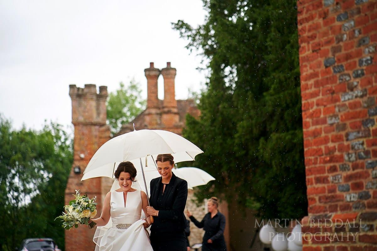 Farnham Castle wedding rain