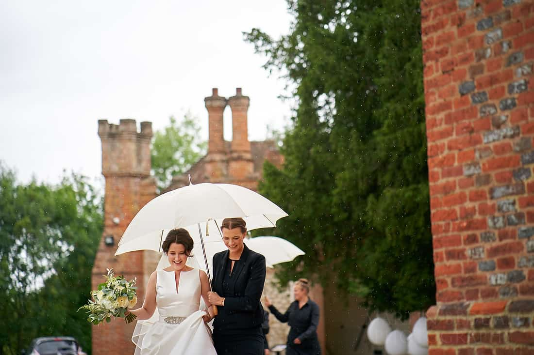 Walking to the ceremony in the rain