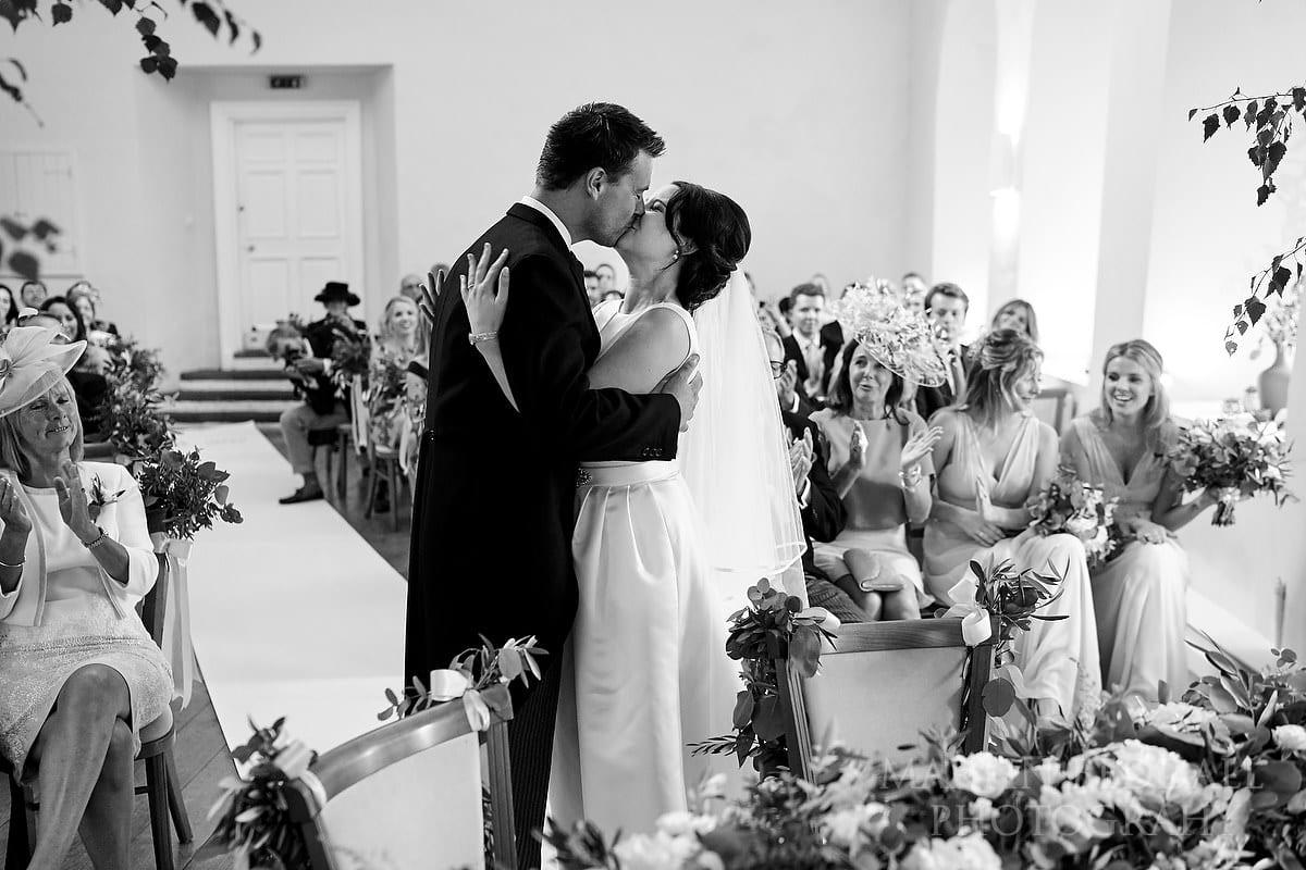 Farnham Castle wedding kiss