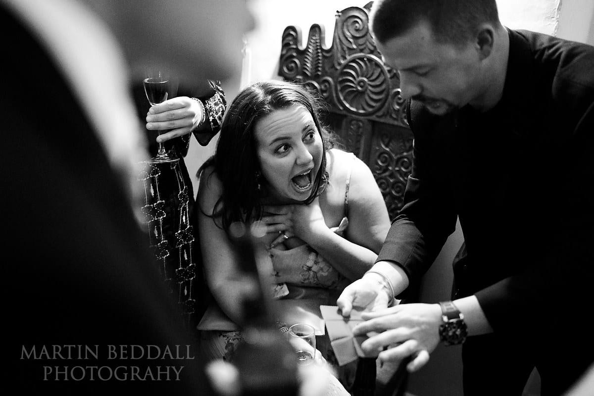 Magician at Farnham Castle wedding reception