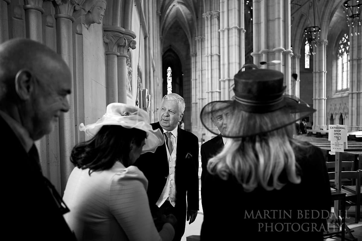 Wedding guests enter Arundel Cathedral