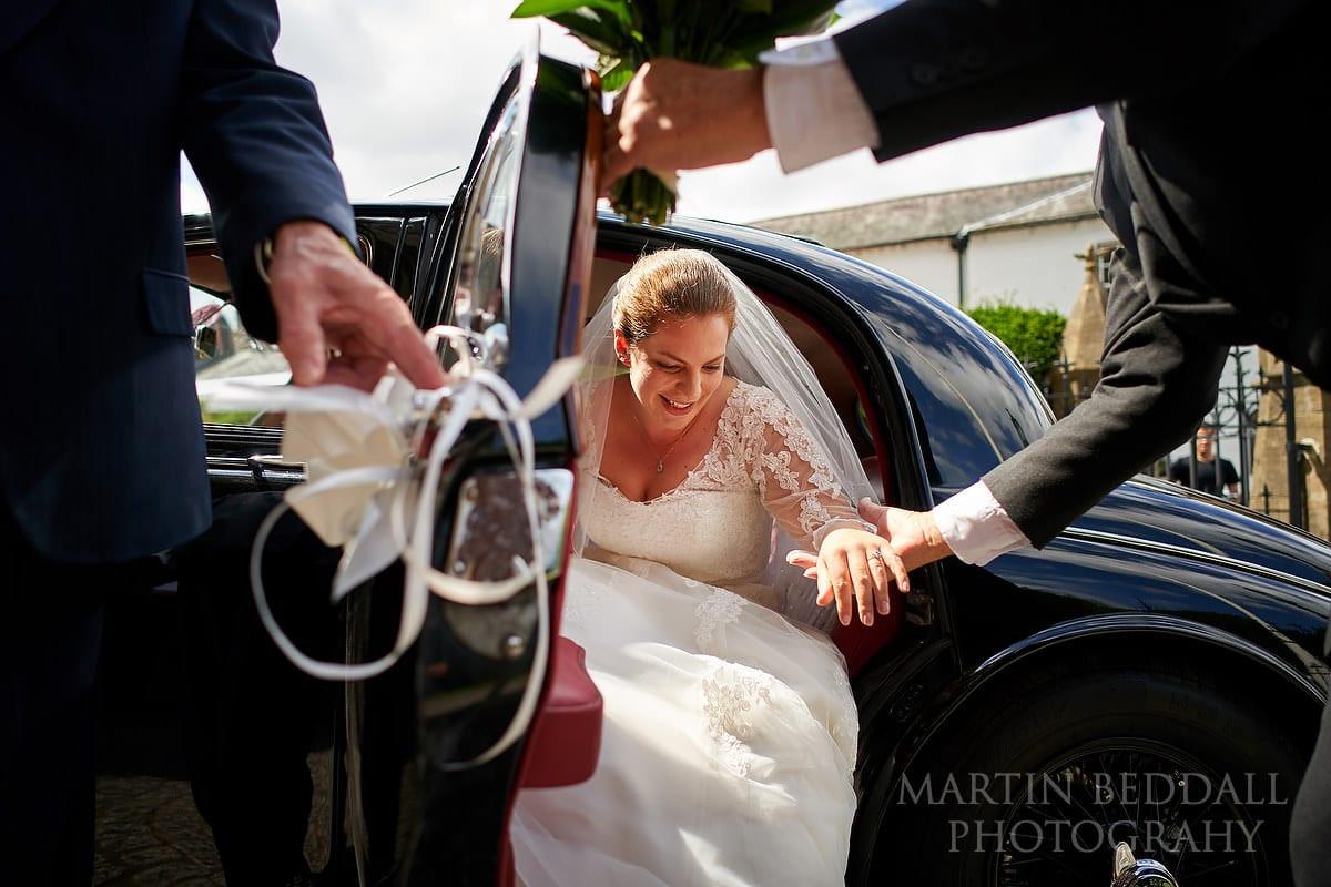 Bride arrives at Arundel Cathedral