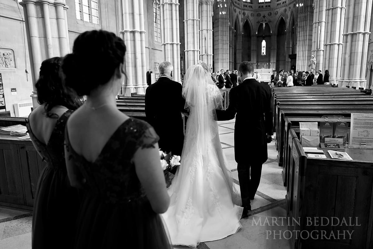 Wedding ceremony starts at Arundel Cathedral