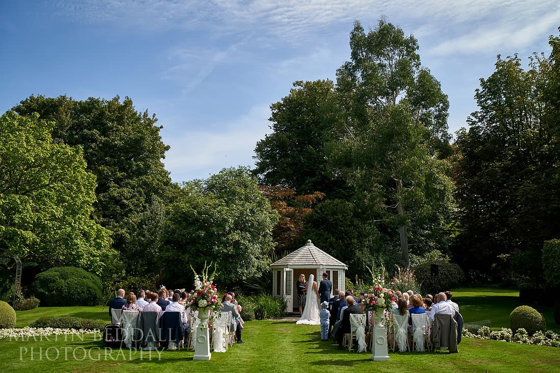Outdoor wedding ceremony at Horsted Place