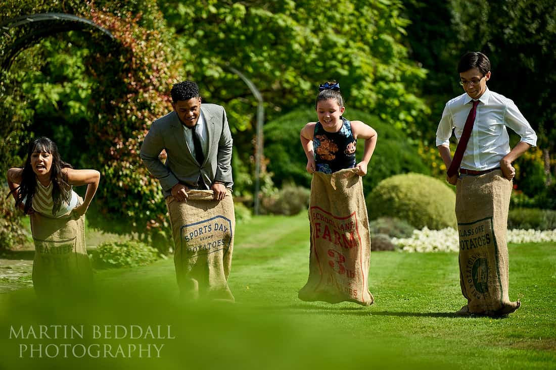 Sack race for wedding guests