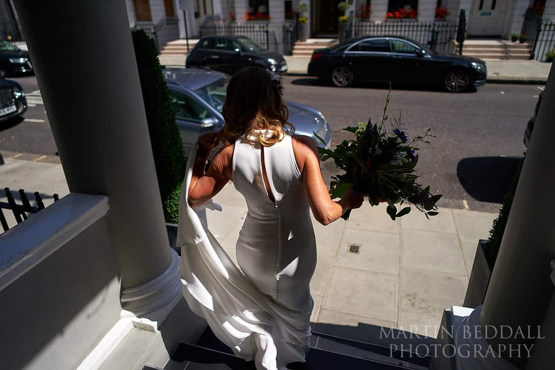 Bride heading out of the hotel