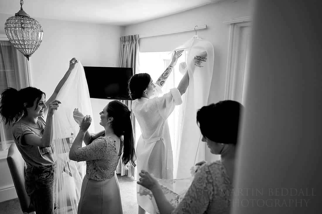 Getting the wedding dress ready