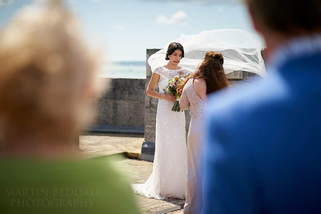 wedding veil in the wind