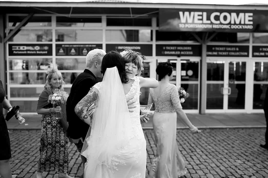 Bride greets a wedding guest
