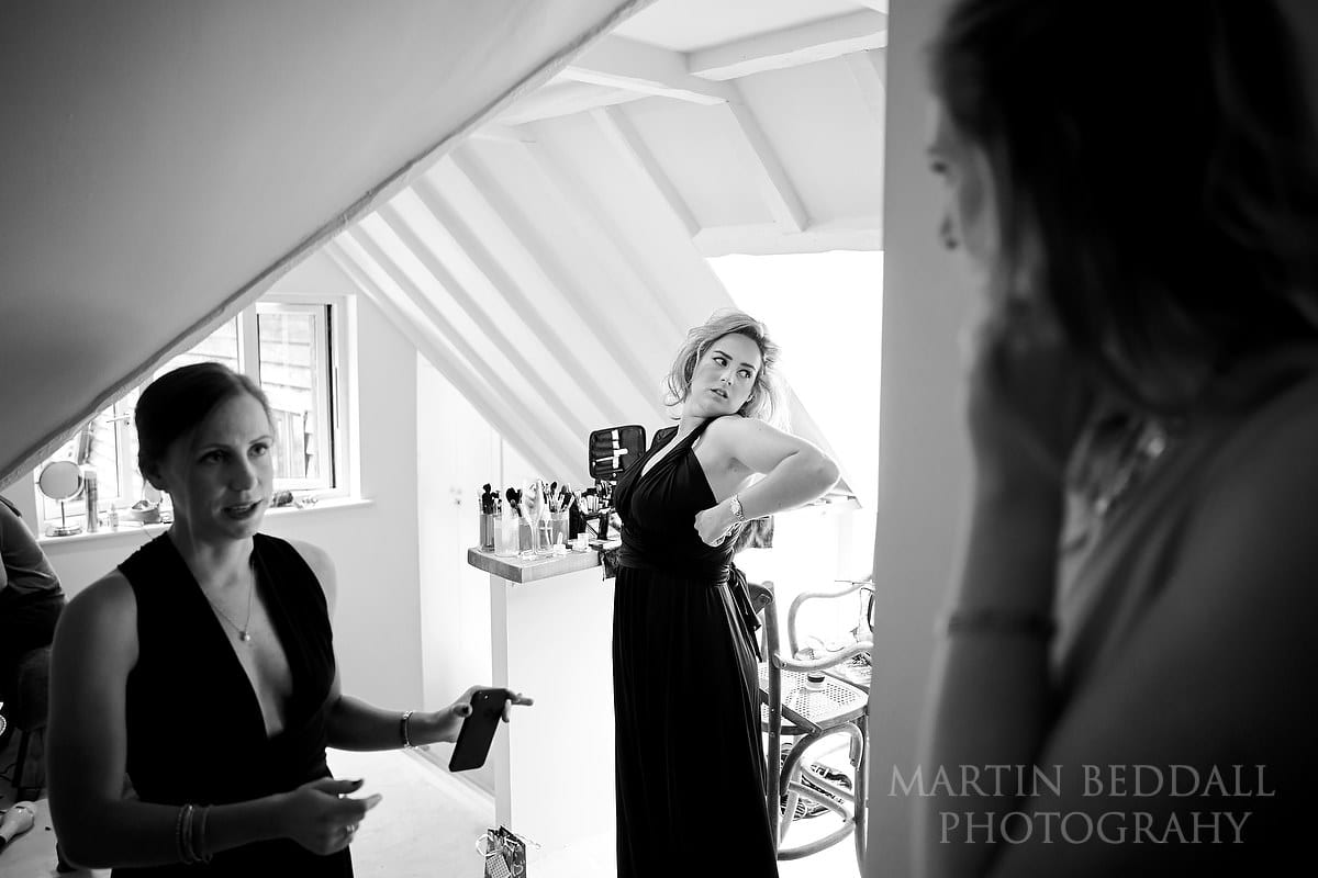 Bridesmaids get ready at The Copse