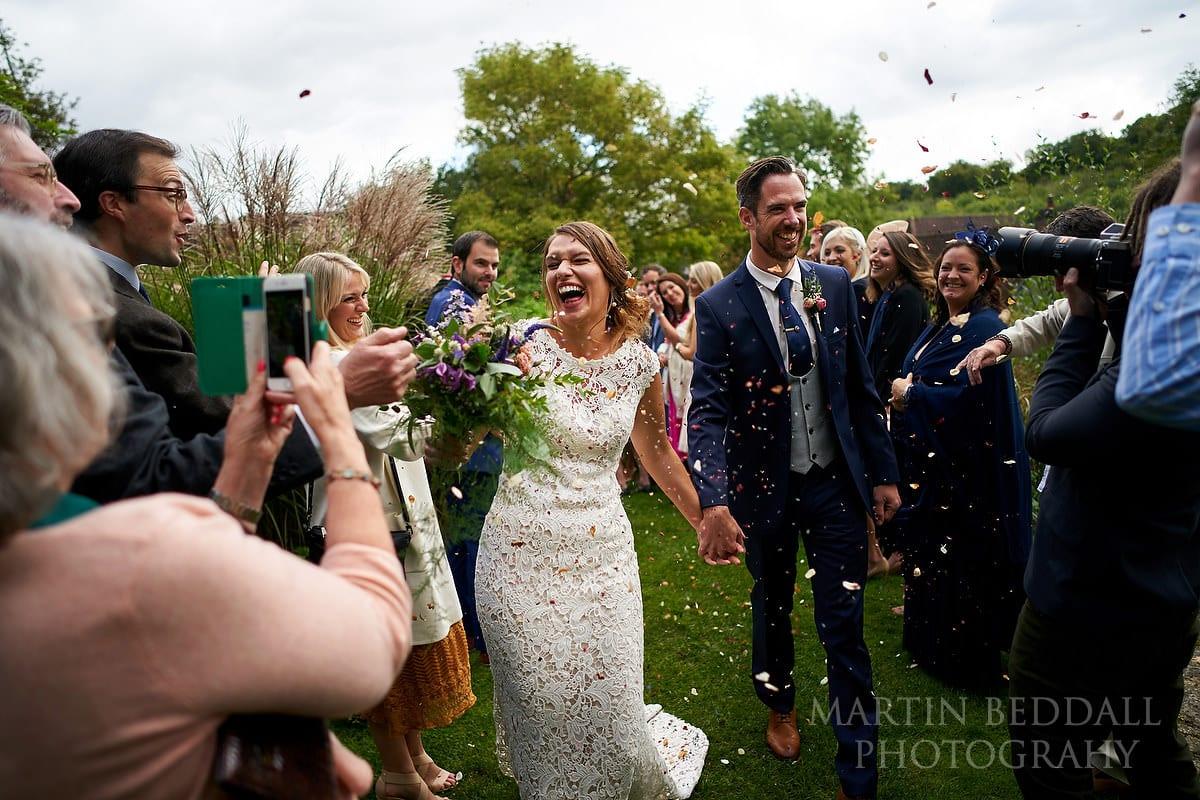 Confetti run at The Copse wedding