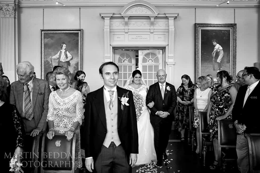 Wedding ceremony in the Long Room at Lord's