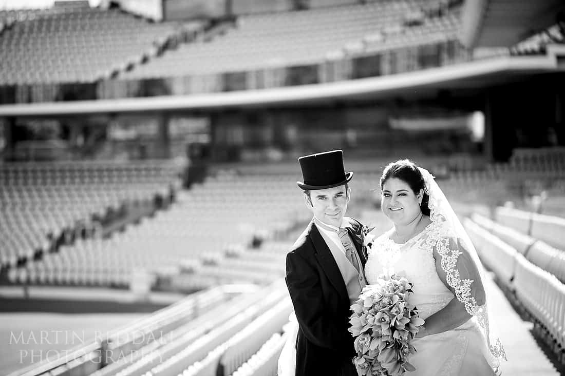 Bride and groom portrait at Lord's