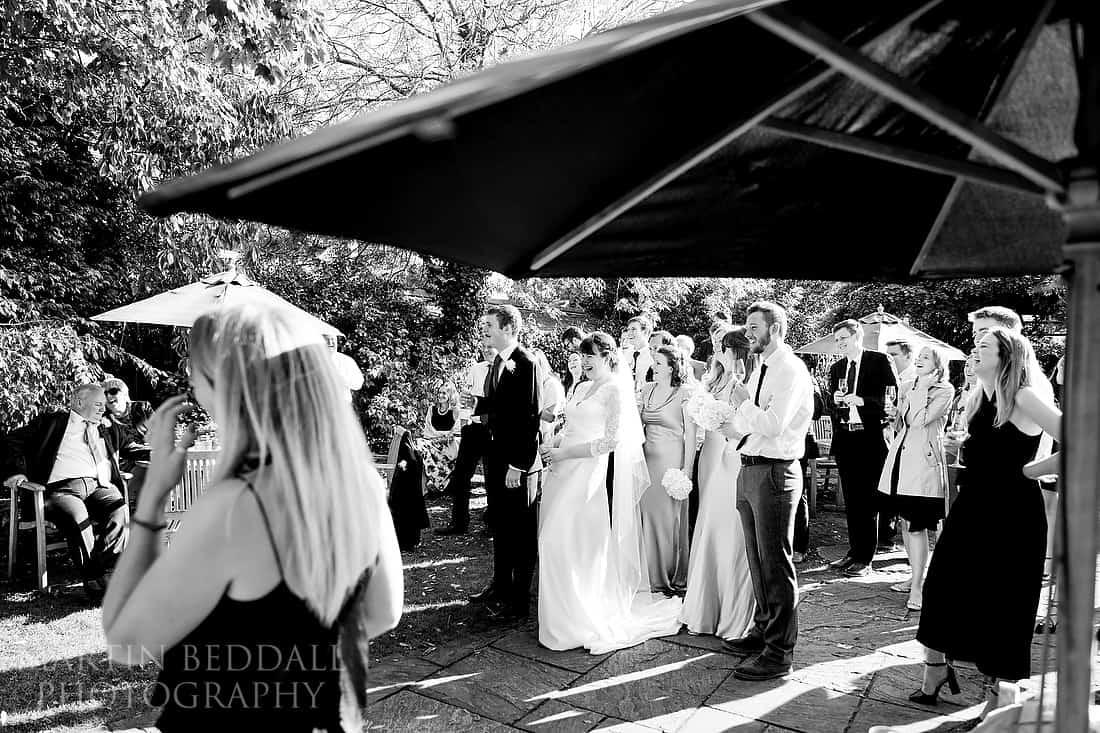 Wedding speeches in The Pointer pub garden