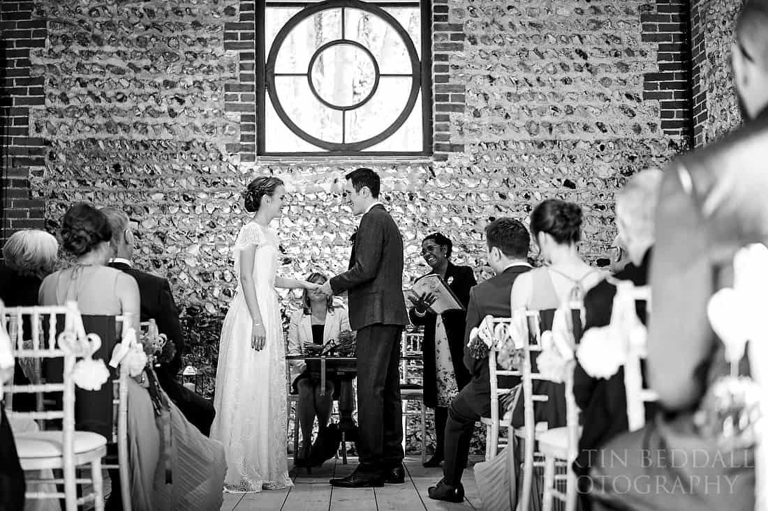 Wedding ceremony at Cissbury Barns