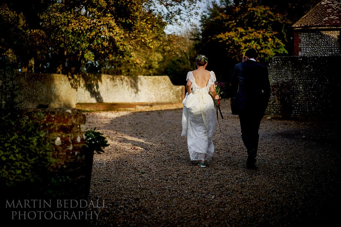 Late autumn sunshine for the wedding