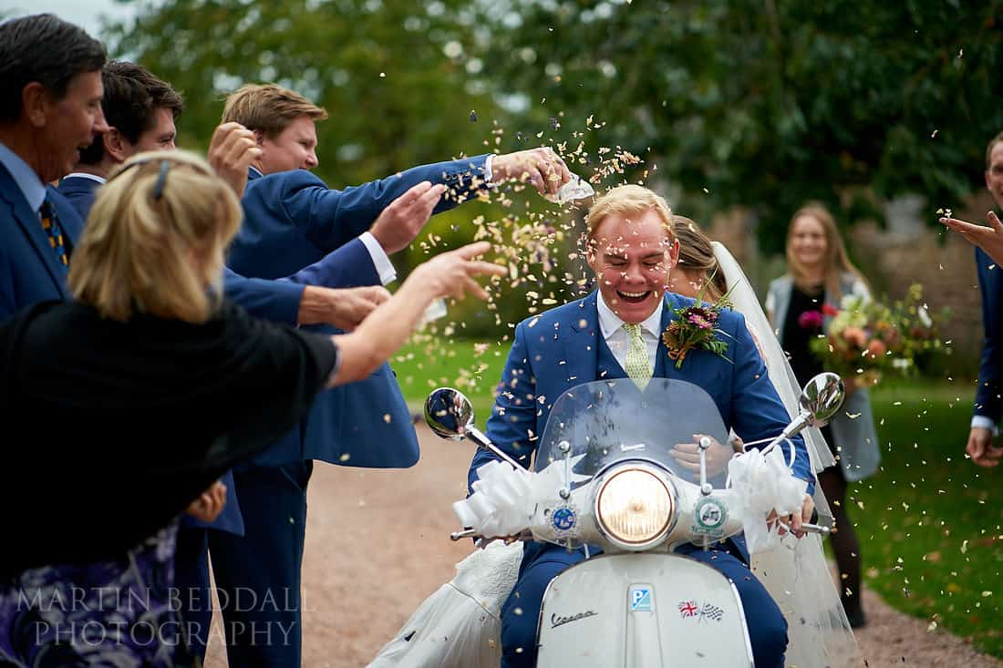 Confetti run on the vespa