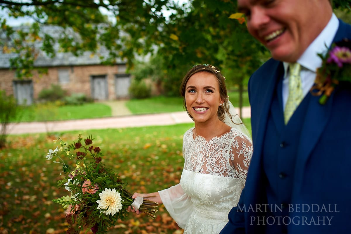 Happy bride at Dewsall Court
