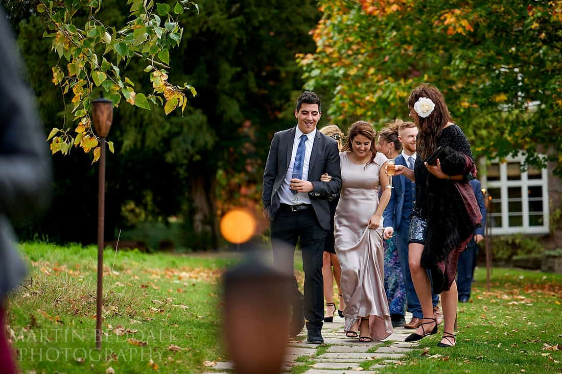 Guests head over to the wedding meal