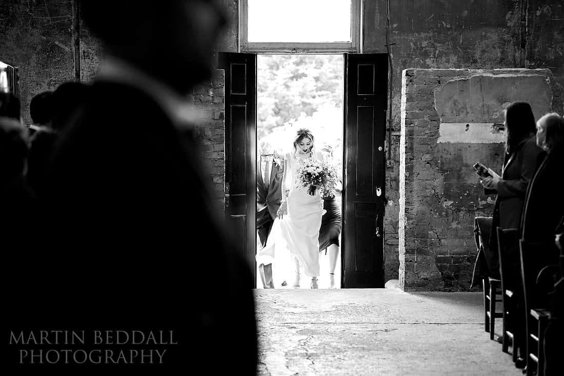 Bride arrives at the Asylum chapel
