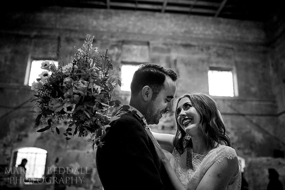 Bride and groom portrait in the asylum chapel