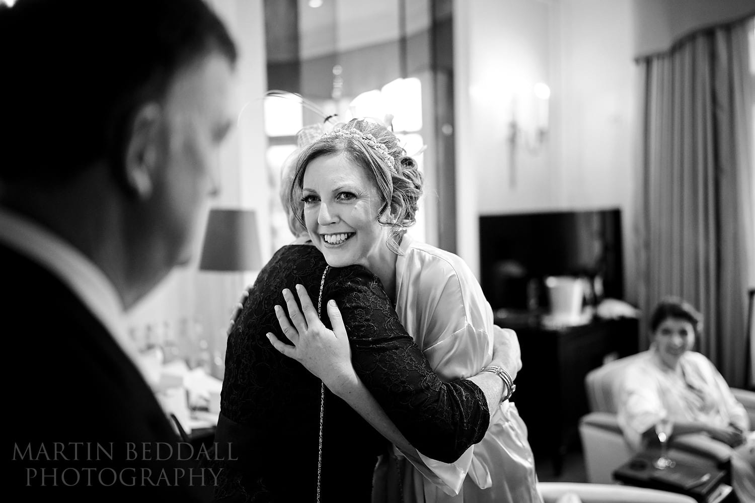Hug for the bride at Claridges