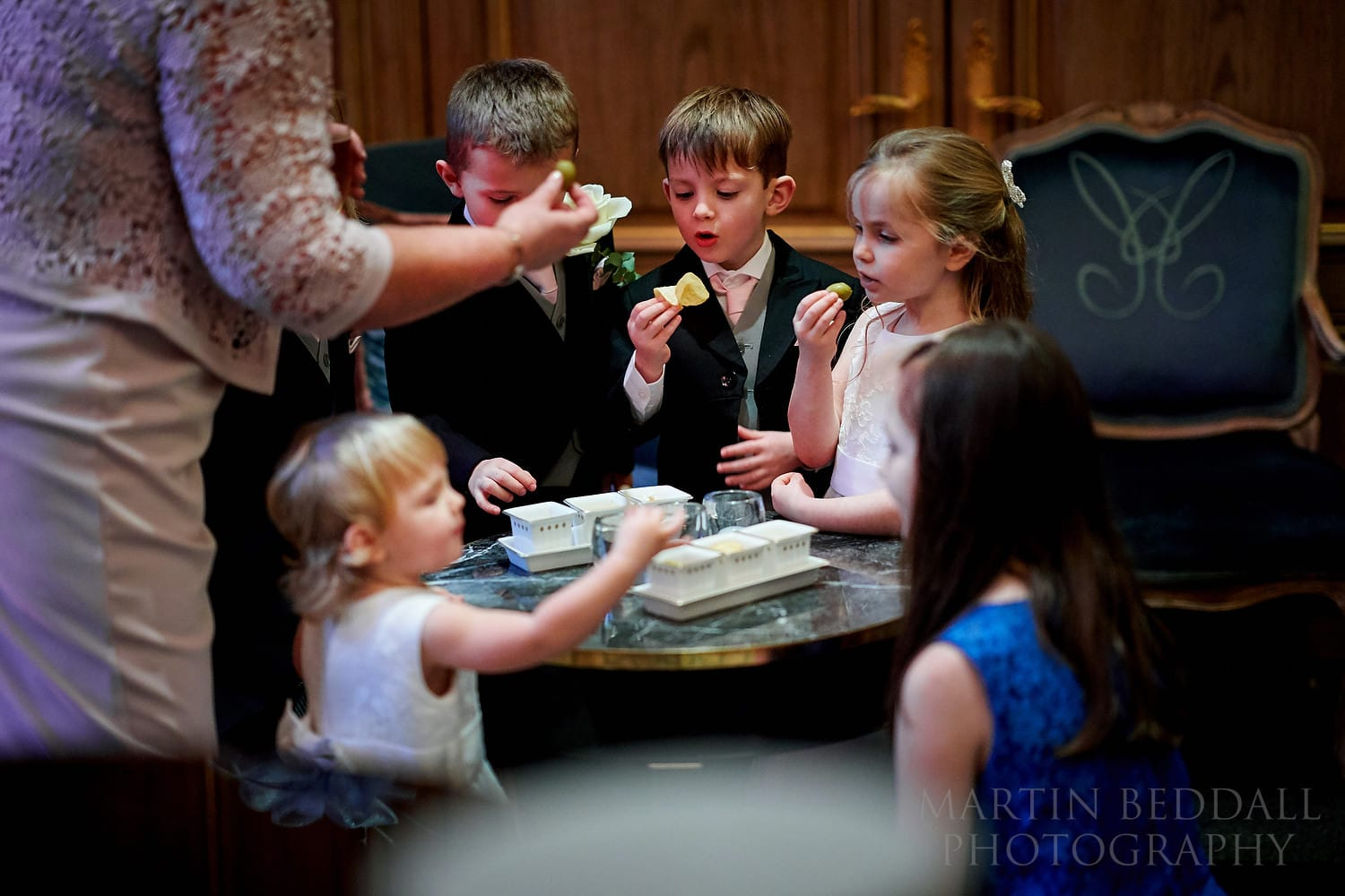 Crisps for the children at Claridges wedding