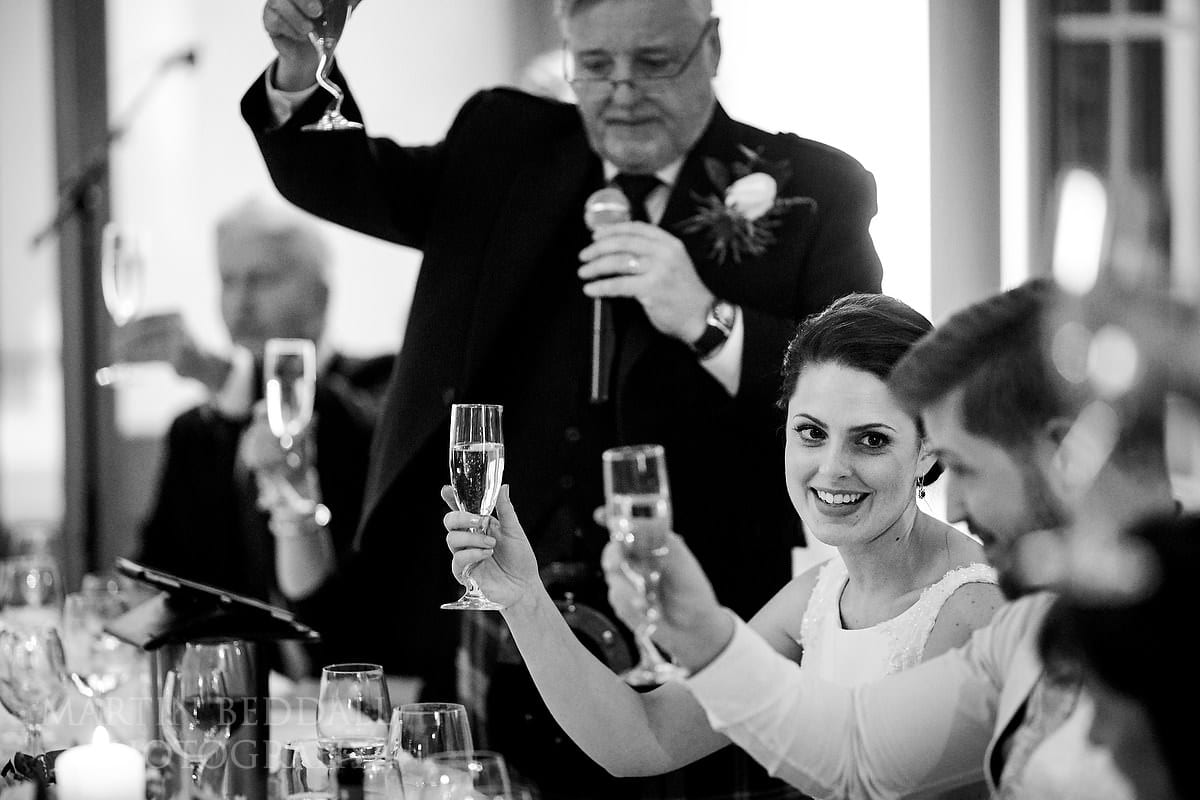 Wedding toasts at Botleys wedding