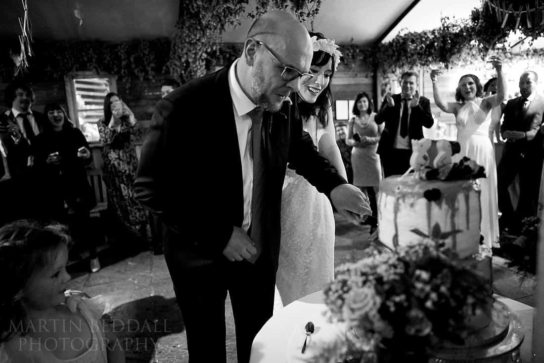Cutting their own wedding cake