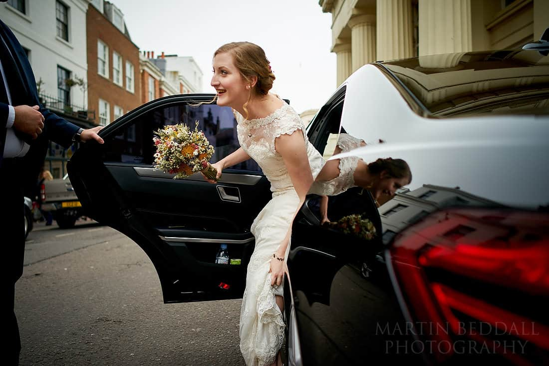 Bride arrives at Brighton Town Hall