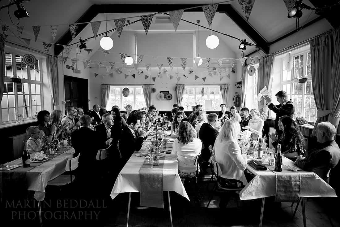Wedding speeches at Iford village hall wedding