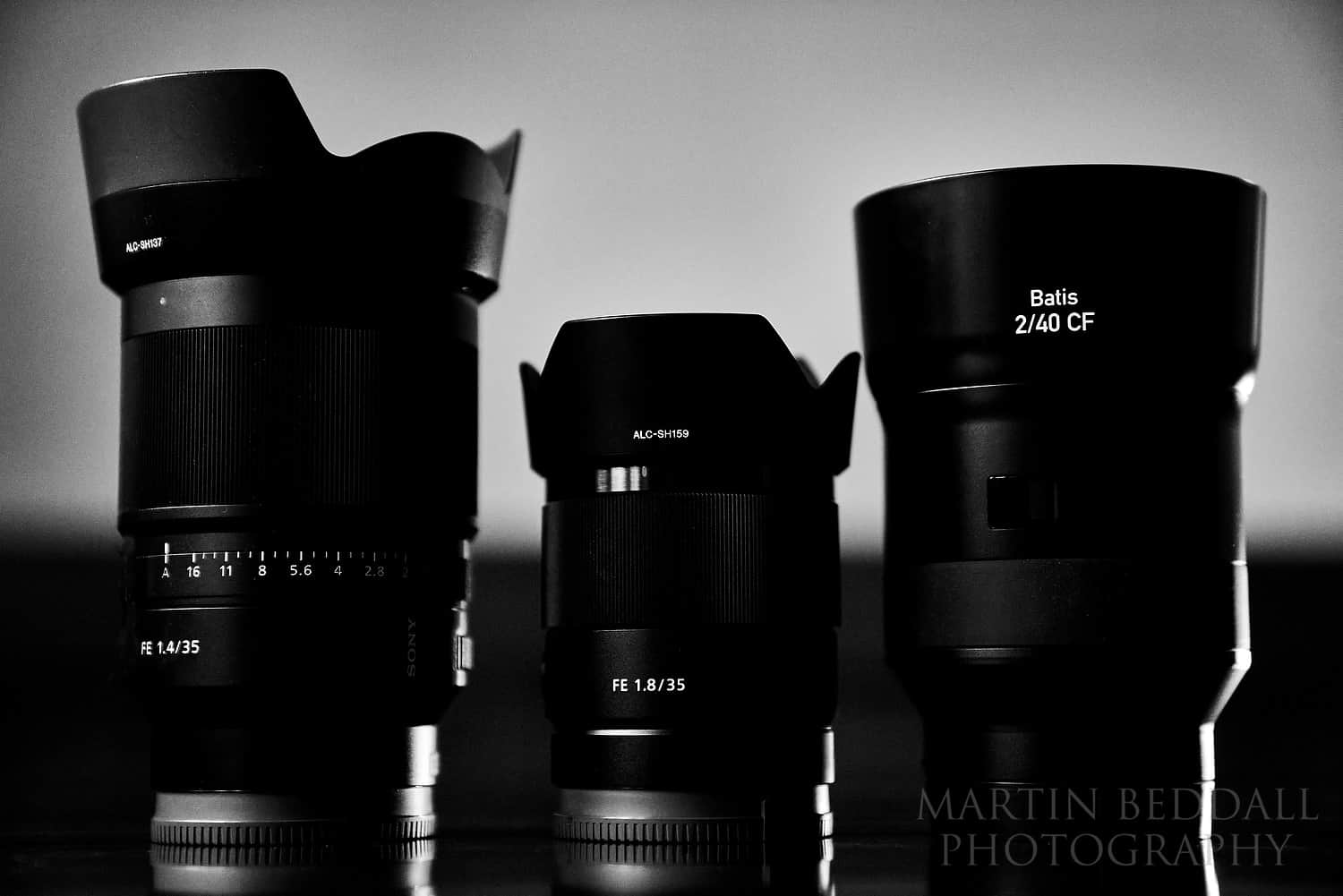 Sony 35mm f1.4, Sony 35mm f1.8 and Zeiss Batis 40mm