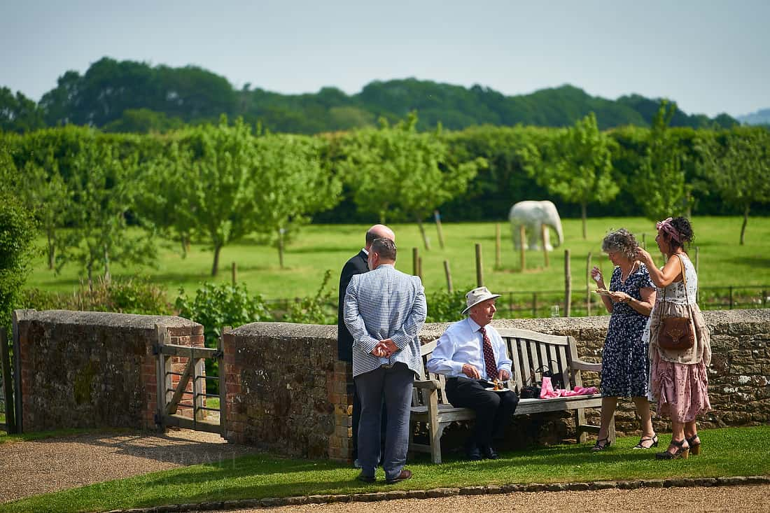 Wedding guests at Grittenham Barn