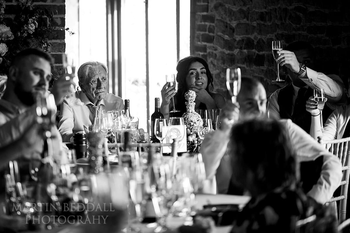 Grittenham Barn wedding toast