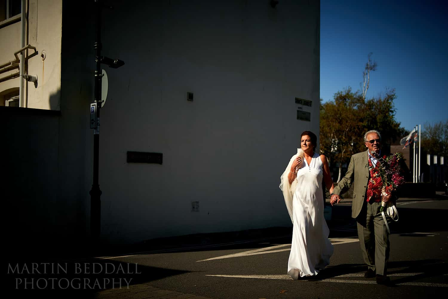Bride walking to the church with the Sony 35mm F1.8 lens