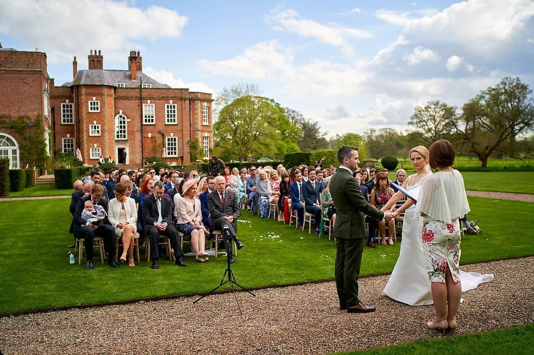 Outdoor wedding ceremony at Iscoyd Park