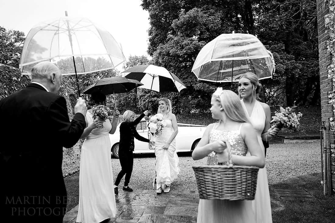 Umbrellas for the wedding party