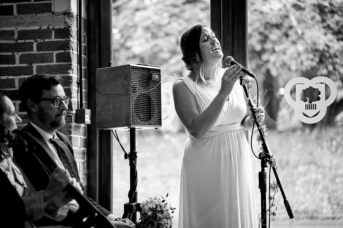 Bride's sister singing