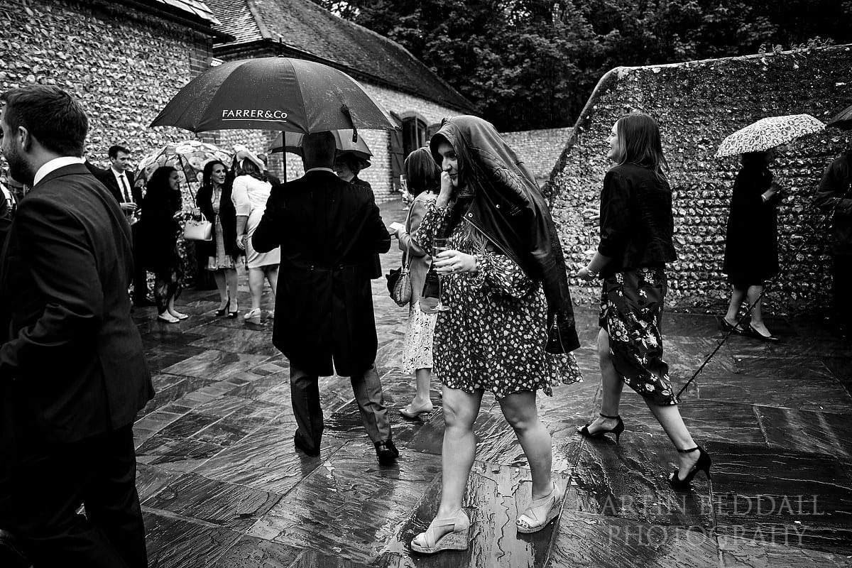 Guests at Wet wedding at Cissbury Barns