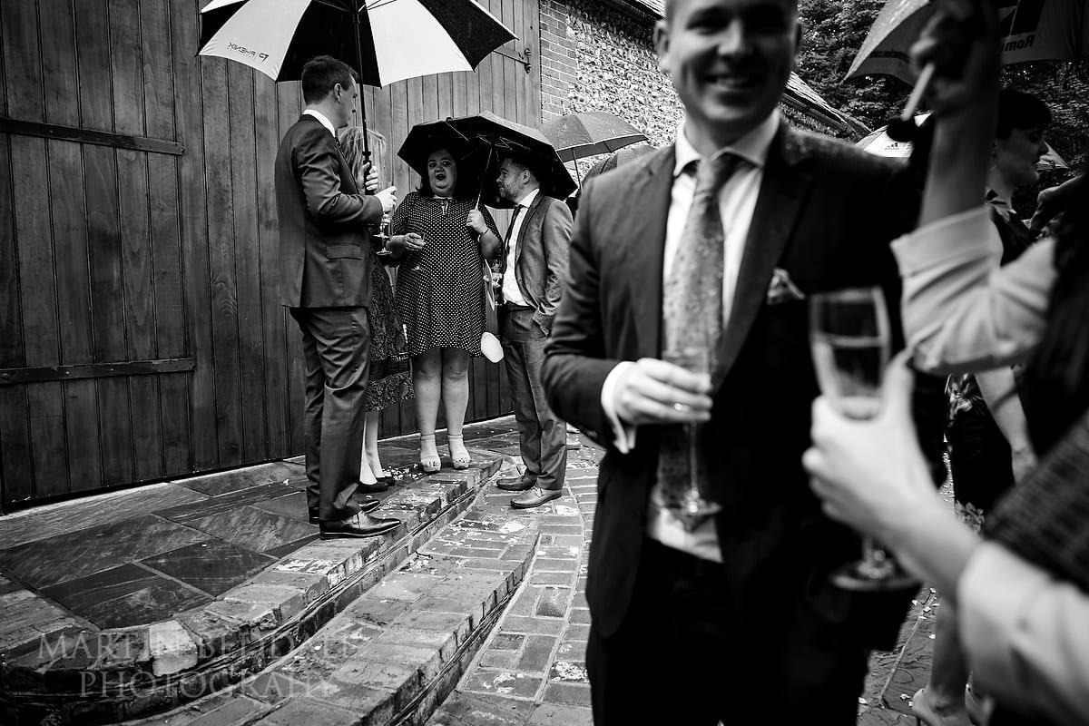 Drinks at Wet wedding at Cissbury Barns