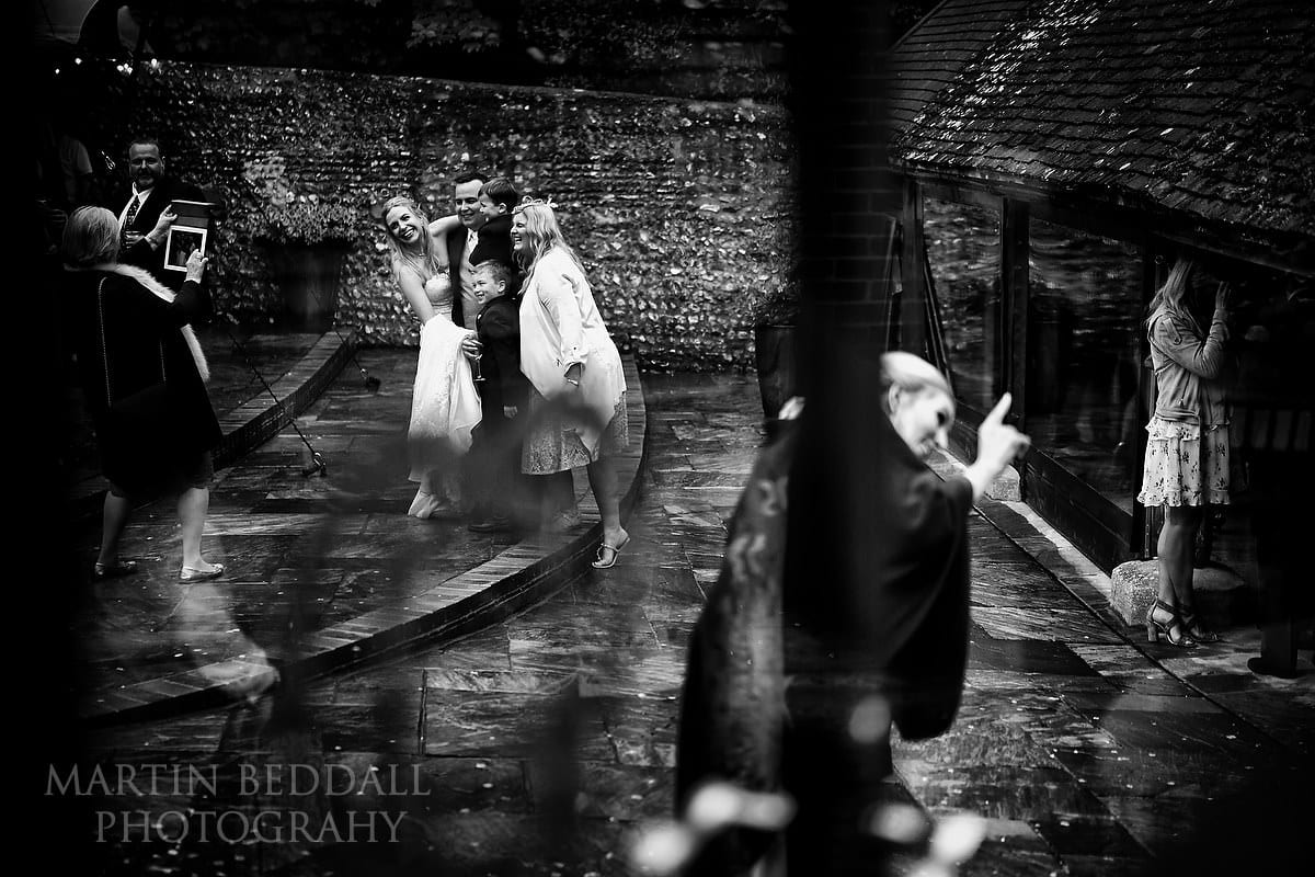 Evening at wet Cissbury Barns wedding