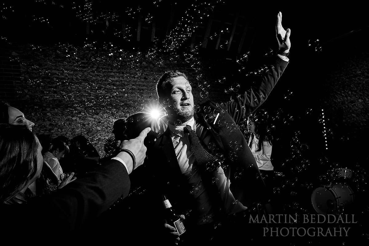 Bubbles at Cissbury Barns wedding party