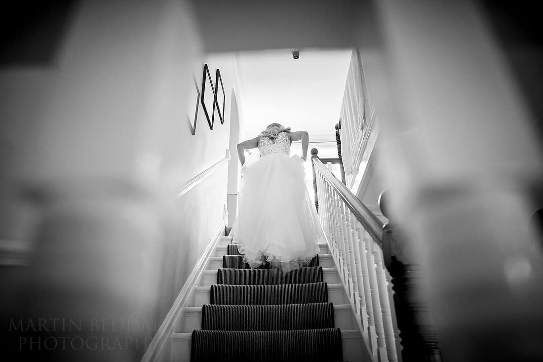 Bride heads upstairs