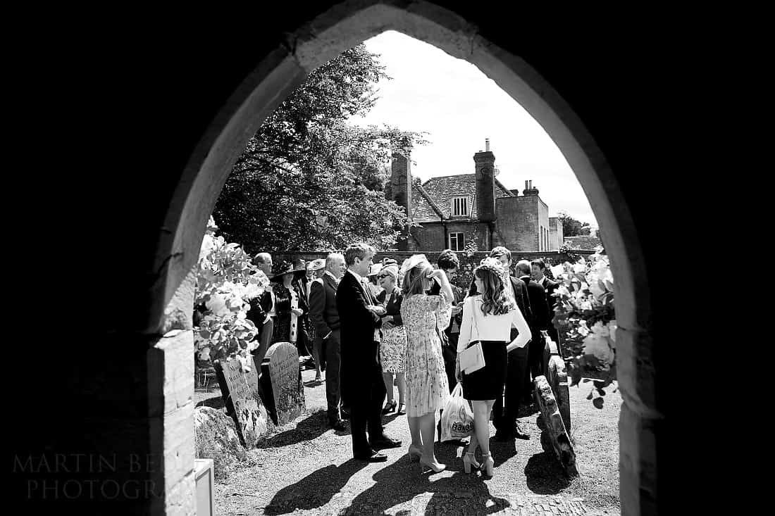 Guests gathered outside the church door