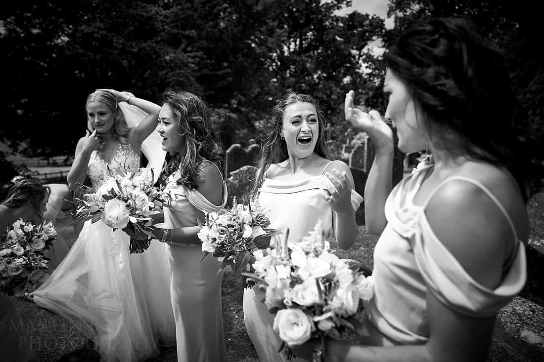Bridesmaid swallows the chewing gum