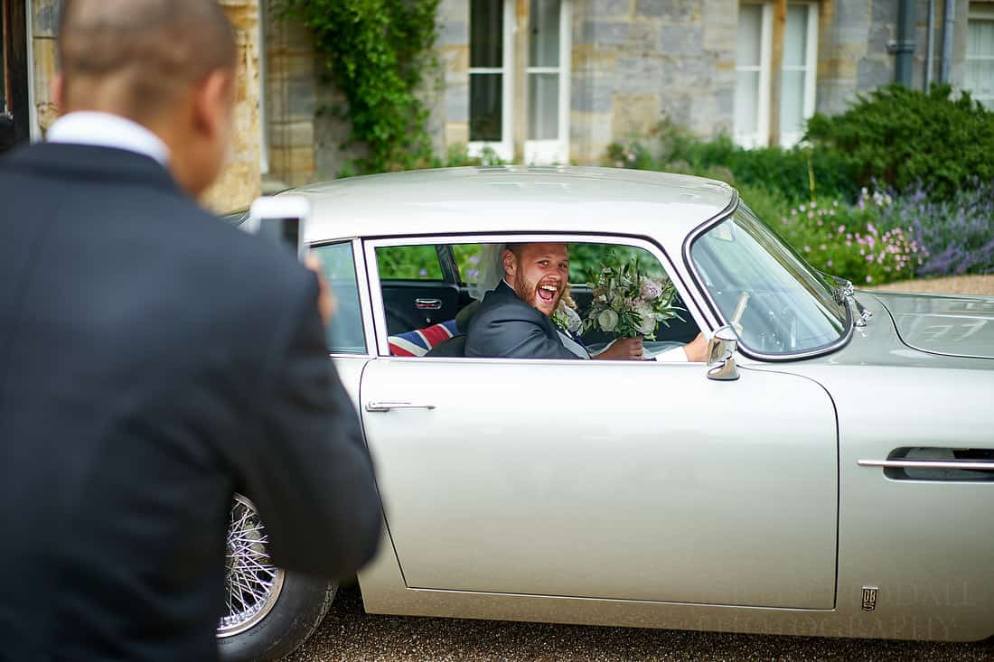 groom gets to drive the james bond car