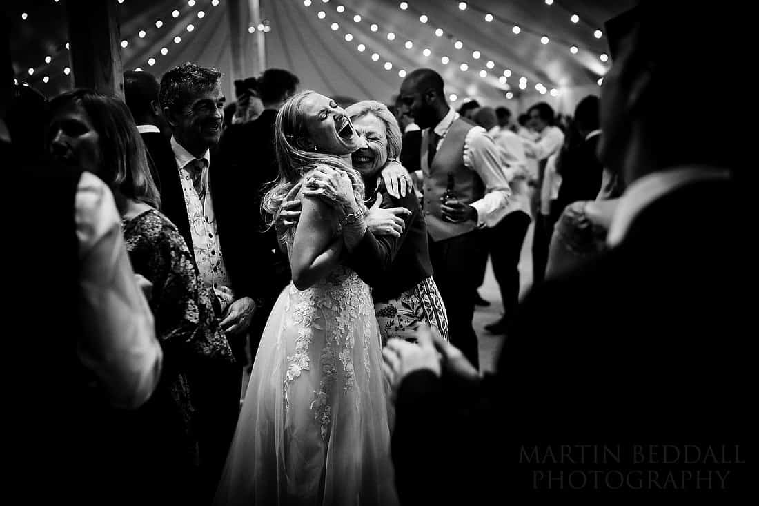 dance floor hug at Buckhurst Park wedding
