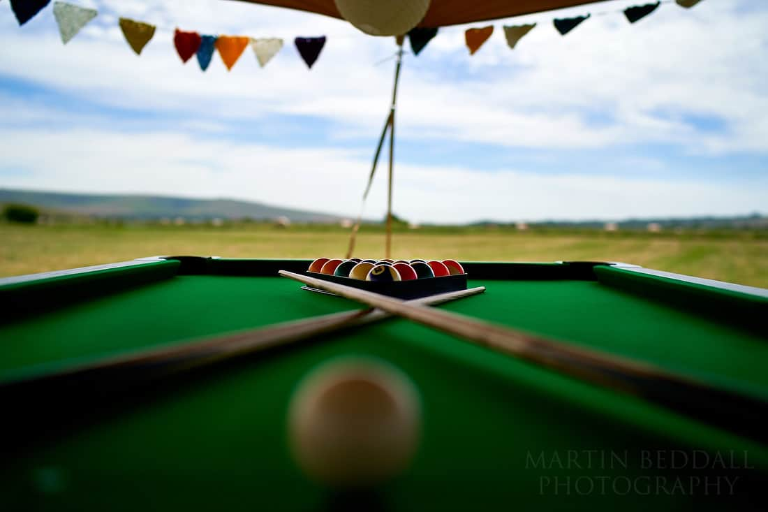 Pool table in the party field