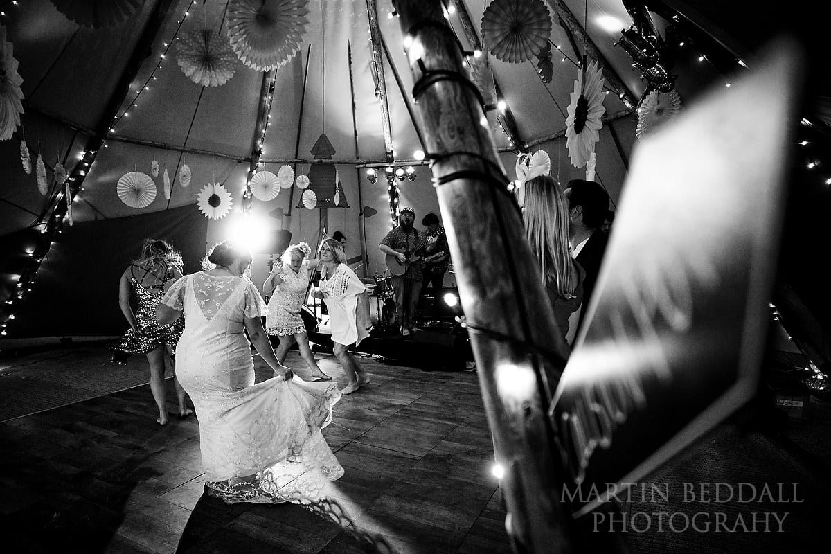 Dncing in the tipi at The Party Field